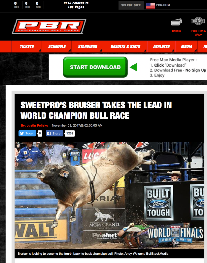 SweetPro's Bruiser Wins PBR Bull of the Year Championship for 2017
